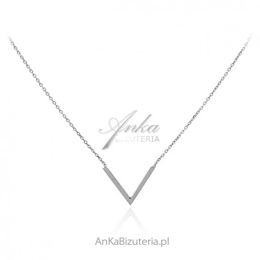 Srebrny naszyjnik w kształcie litery V
