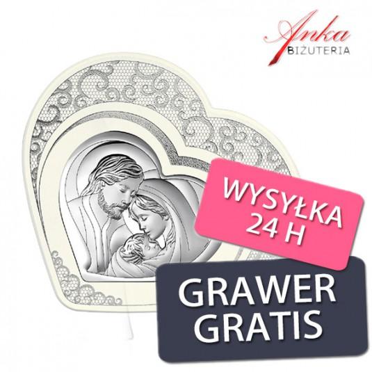 Obrazek srebrny Święta Rodzina w sercu 17,2 cm*18,2 cm