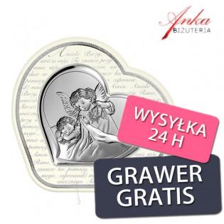 Pamiątka Chrztu, Komunii - Obrazek srebrny Aniołek z dzieciątkiem w serduszku 22 cm/22,6 cm