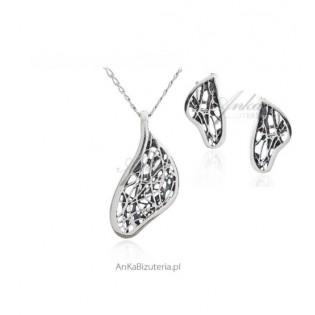 Komplet biżuteria srebrna oksydowana - PAJĘCZYNKA z kolekcji SCARLETT