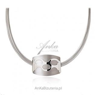 Piękny naszyjnik srebrny z szarym tytanem