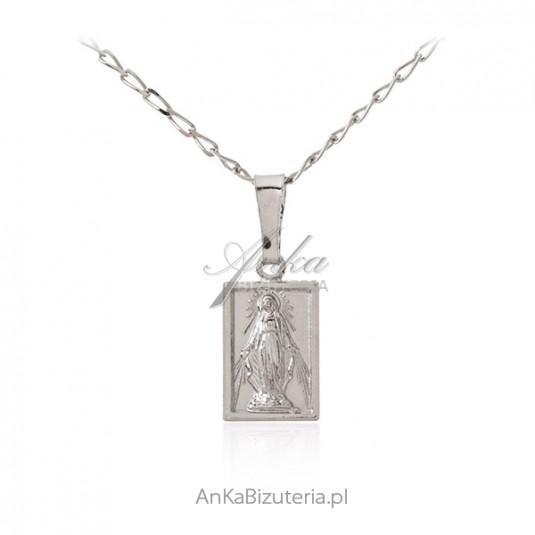 Srebrny medalik Matka Boska Cudowna - srebro rodowane