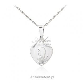 Medalik srebrny diamentowany Matka Boska Fatimska