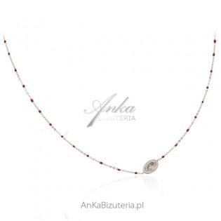 Naszyjnik srebrny z bordowymi koralikami i Madonną