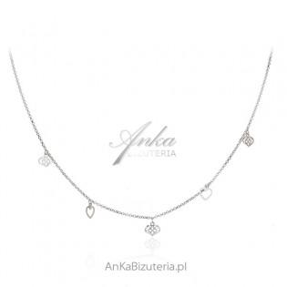 Naszyjnik srebrny z ażurowymi serduszkami