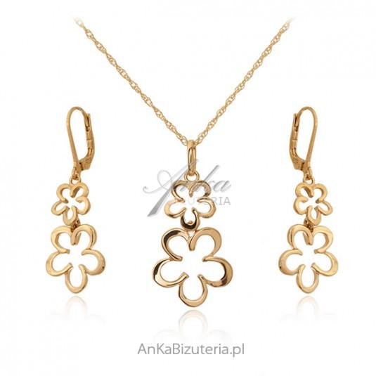 Biżuteria srebrna komplet srebrny pozłacany - KWIATKI