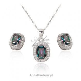 Biżuteria srebrna Komplet z Mystic topazem i cyrkoniami