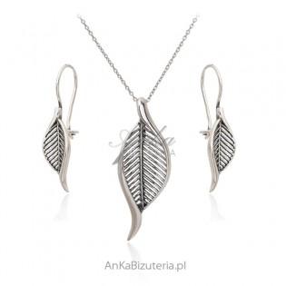 Biżuteria srebrna Komplet LISTKI oksydowany