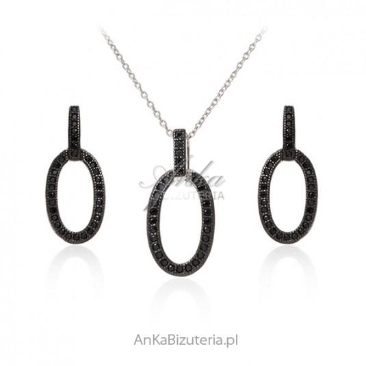 Srebrny komplet z czarnymi cyrkoniami