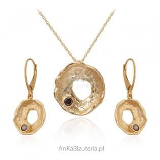 Artystyczna biżuteria srebrna pozłacana z Mystic topaz