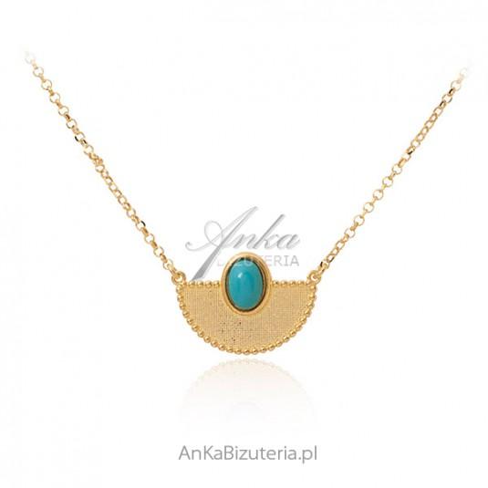 Srebrny naszyjnik pozłacany z niebieskim turkusem
