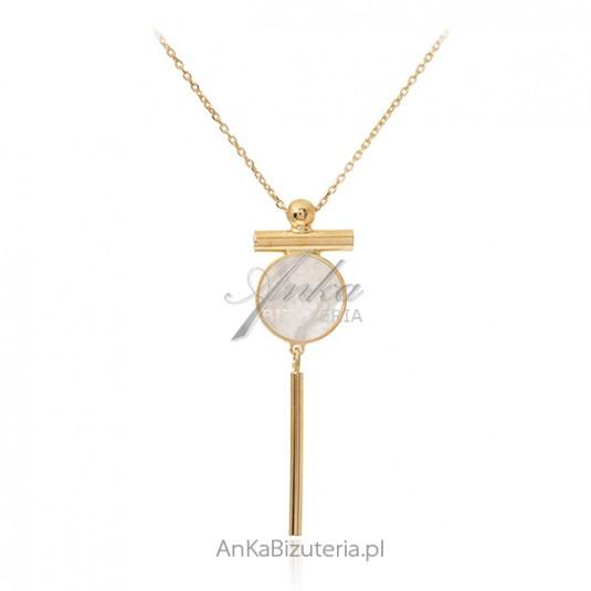 Srebrny naszyjnik pozłacany z masą perłową
