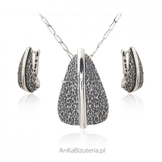 Biżuteria srebrna komplet oksydowany