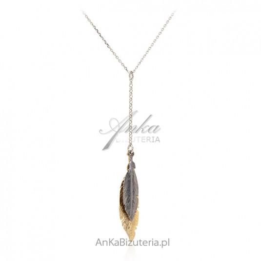 Srebrny naszyjnik z piórkami oksydowanym i złotym