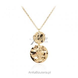 Srebrny naszyjnik złocony z dwoma talarkami