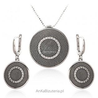 Komplet biżuteria srebrna oksydowana z cyrkoniami