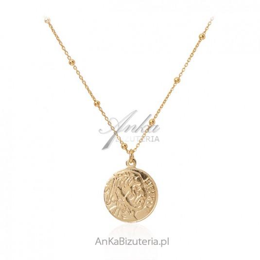 Srebrny naszyjnik pozłacany z medalionem