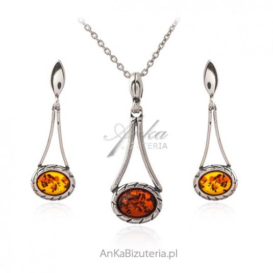 Biżuteria srebrna komplet z bursztynem