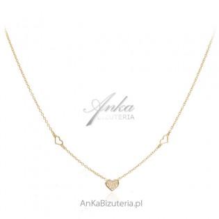 Biżuteria srebrna pozłacana Delikatny naszyjnik z serduszkami