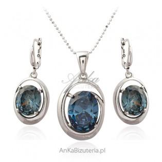 Biżuteria srebrna - komplet z piękną cyrkonią w kolorze szaro - niebieskim