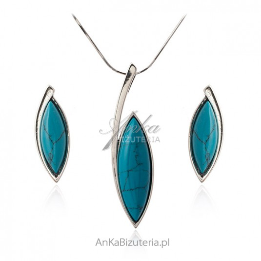 Biżuteria srebrna komplet z niebieskim turkusem