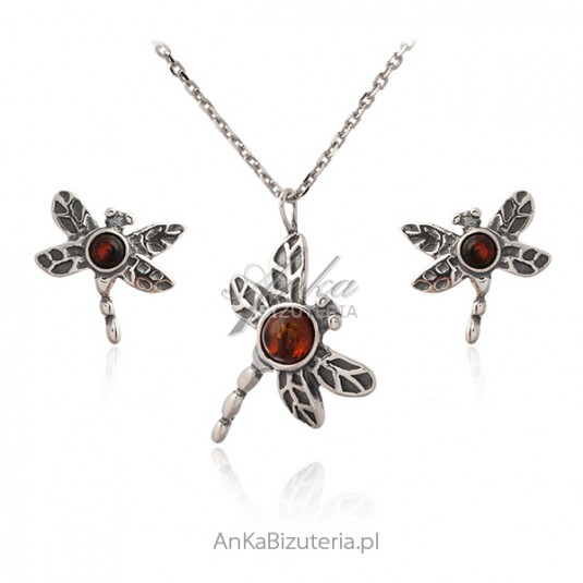 Biżuteria srebrna komplet z bursztynem WAŻKI