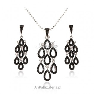 Biżuteria srebrna KOMPLET z czarną cyrkonią