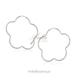 Duże kolczyki srebrne KWIAT - HIT - biżuteria włoska - 6 cm