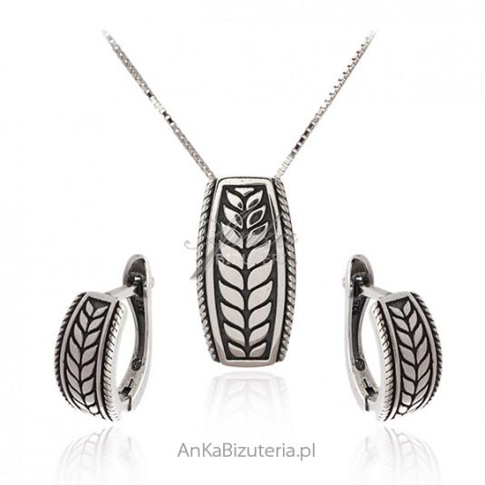 Biżuteria srebrna oksydowana komplet KŁOS