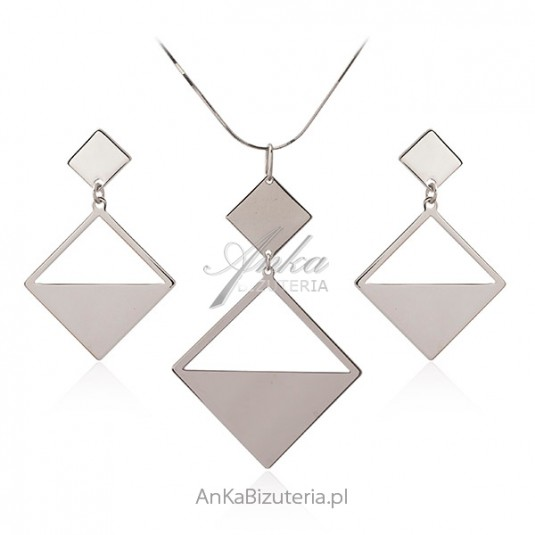 Elegancki komplet biżuteria srebrna