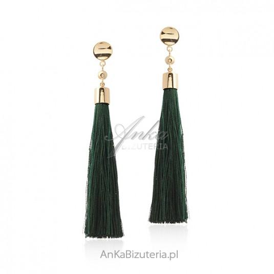 Kolczyki srebrne pozłacane z frędzlami - zielone CHWOSTY