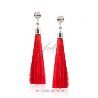 Kolczyki srebrne z frędzlami - czerwone CHWOSTY
