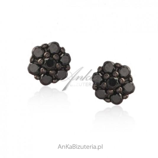 Kolczyki srebrne czarne cyrkonie - Maleńkie kwiatki