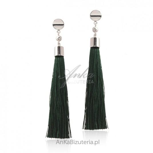 Srebrne kolczyki CHWOSTY zielone