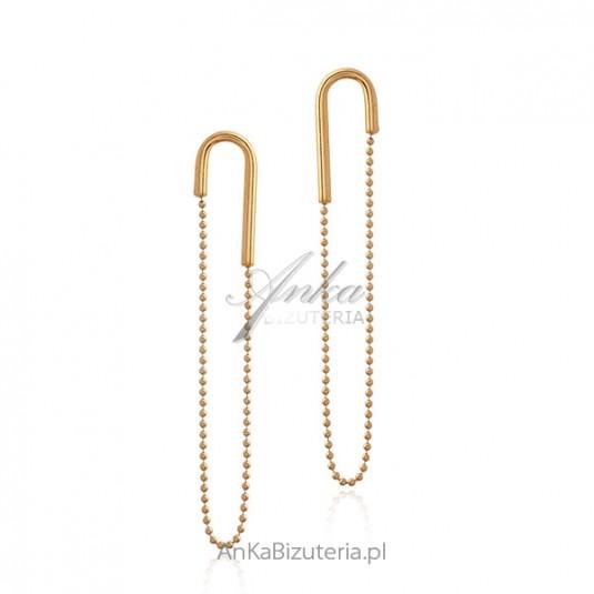 Kolczyki srebrne pozłacane AGRAFKI z wiszącymi łańcuszkami