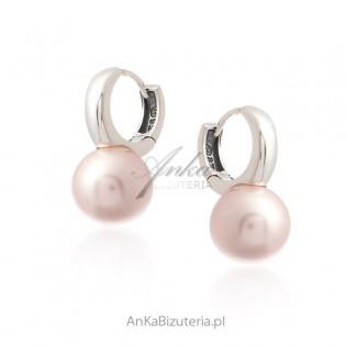 Kolczyki srebrne z różową perłą na angielskim zapięciu