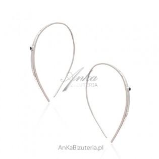 Kolczyki srebrne z czarną cyrkonią - długie pałki - biżuteria Dall Acqua