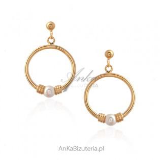 Kolczyki srebrne pozłacane z małymi perełkami