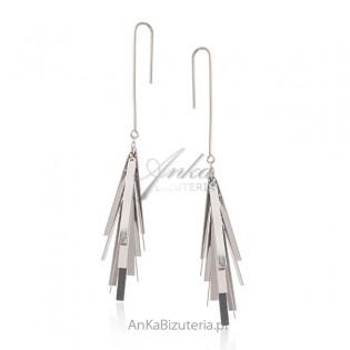 Kolczyki srebrne - srebrne frędzle - Biżuteria włoska