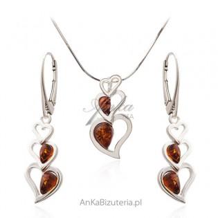Biżuteria srebrna komplet z bursztynem SERDUSZKA