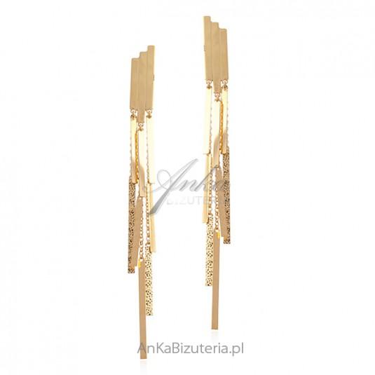 Srebrne kolczyki pozłacane długie 12 cm