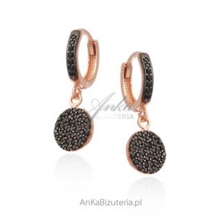 Srebrne kolczyki pozłacane różowym złotem z czarnymi cyrkoniami