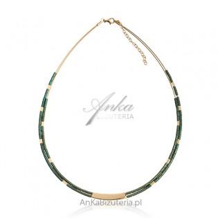 Naszyjnik srebrny pozłacany z zielonymi hematytami