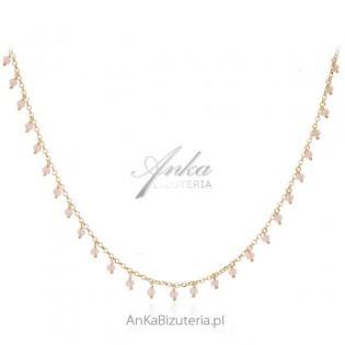 Srebrny naszyjnik pozłacany z różowymi cyrkoniami