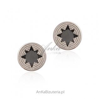 Kolczyki srebrne okrągłe z czarną gwiazdką