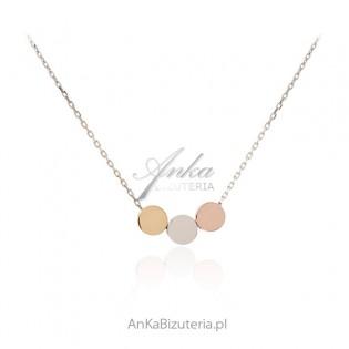 Srebrny naszyjnik z kolorowymi kółkami