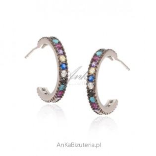 Kolczyki srebrne z kolorową cyrkonią i turkusami