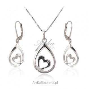 Komplet biżuteria srebrna z serduszkiem