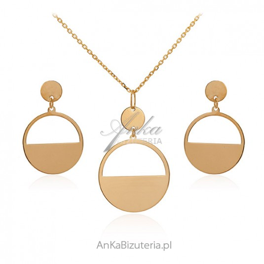 Komplet biżuteria srebrna pozłacana