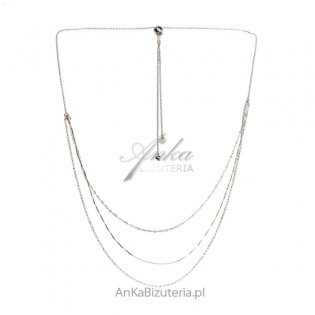 Naszyjnik srebrny kaskadowy ze ściągaczem